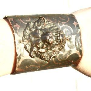 Copper Lion Steampunk Cuff Bracelet Wide Brass